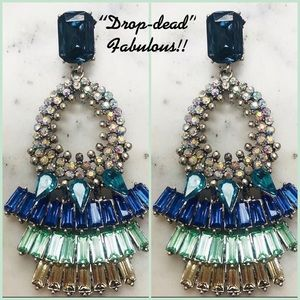 """Drop-Dead"" Gorgeous Statement Earrings, NWT-Bl/Gr"